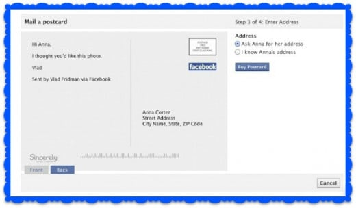 Facebook - mail a postcard