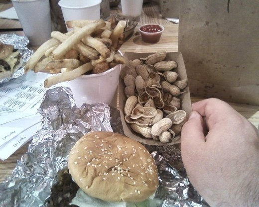 Just what every burger needs, a side of peanuts.