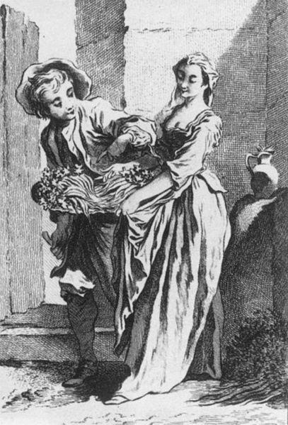 Cries of Paris - engraving showing a radish and turnip vendor in old Paris