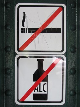 No smoking and no alcohol while driving. This is a sign seen in European train ways.
