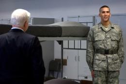 Secretary of Defense Robert Gates visiting the dorm room Lackland AFB Tx July 24, 2008.