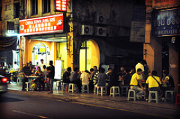 Chinese open air eateries are filled with the local Chinese and foreign tourists as food sold here are taboo for muslims.