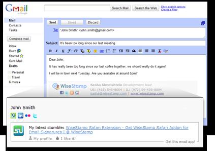 WiseStamp - generated e-mail signature