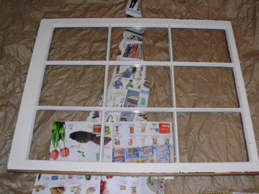A 9 pane window I picked up from Brass Armadillo. I plan on some wedding display uses for it. These are often under DIY boards.