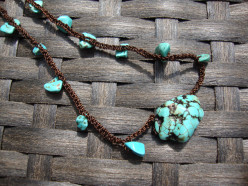Dark  Night Turquoise Neckace Turquoise crocheted with black cording.