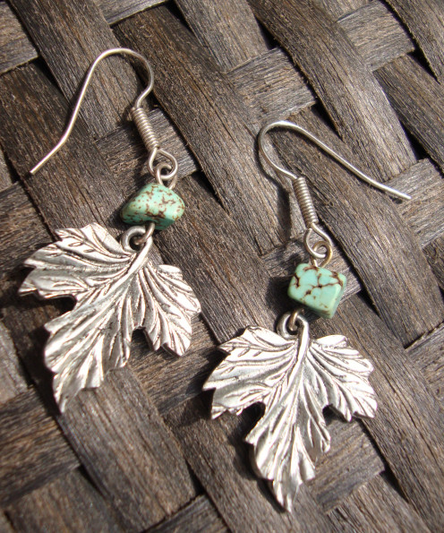 Falling Leaves Earrings Turquoise nuggets with metal detailed leaves