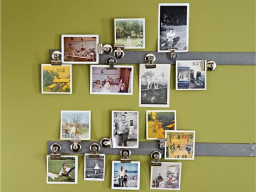 Displaying photos on metal bars.