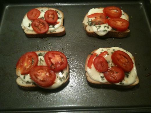 Yummy tomato, mozzarella and basil sandwiches