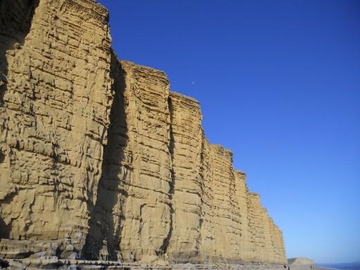 The golden sandstone cliffs at West Bay, Bridport