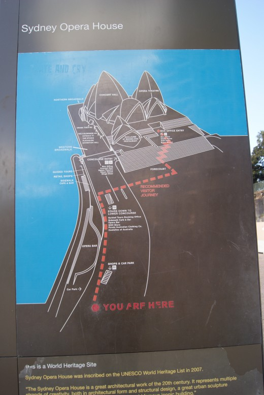 A helpful informative map stands at the entrance to the walkway along the harbour foreshore