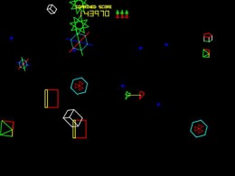 Vivid Colours on the game screen in Space Duel by Atari