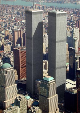 The Twin Towers in lower Manhattan