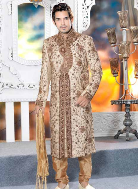Off White Cotton Silk Embroidered Sherwani with Churidar