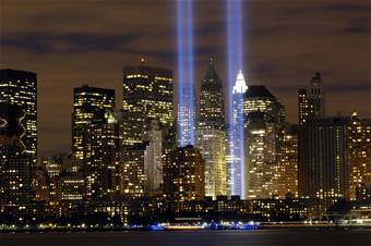 The lights commerate where the The Twin Towers once stood.