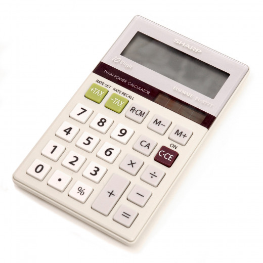 This Sharp Calculator is battery and solar powered.  It is useful for calculating receipts and other expenses.