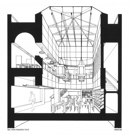 Proposed Neighborhood Library - Ink on Mylar (early 80s)