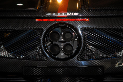 These four exhaust pipes from a Pagani Zonda create a powerful symmetrical image.