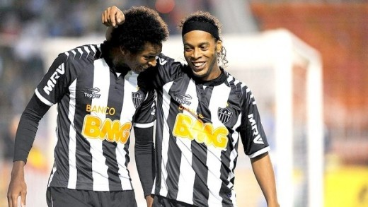 Ronaldinho celebrating together with his Atletico Mineiro teammate Jo.