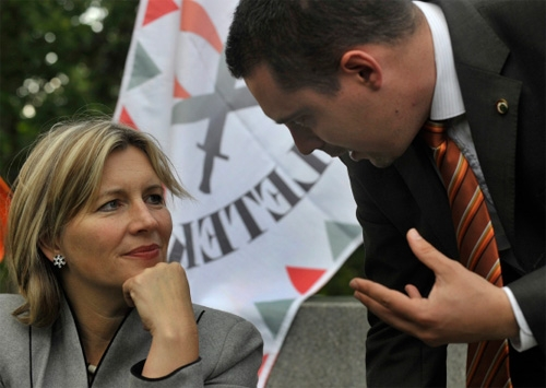 Krisztina Morvai, who successfully headed the party's 2009 EP candidate list; and Gábor Vona the Jobbik party chairman; during their nationwide tour.