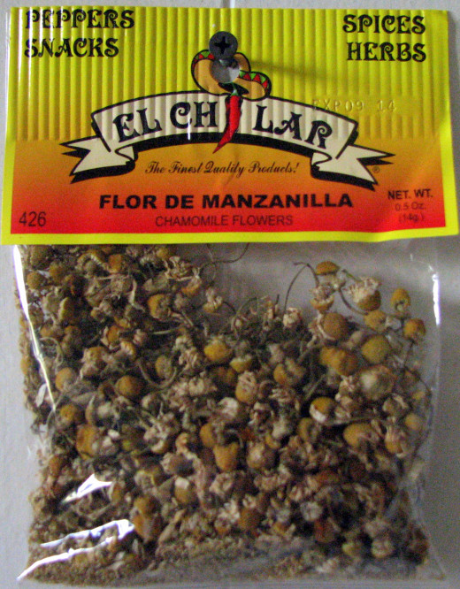 These are chamomile flowers as packaged and sold by El Chilar, Corp. Photo by Windy Grace Mason A.K.A. VAMPGYRL420.