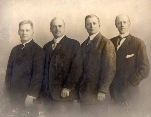 The first four Rotarians: Gustavus Loehr, Silvester Schiele, Hiram Shorey, and Paul P. Harris