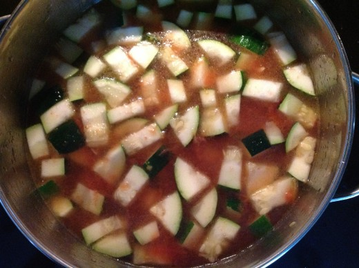Zucchini and tomatoes with water added for broth.