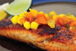 Grilled Salmon with Citrus Teryaki Glaze & Pineapple-Mango Salsa