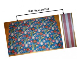 """Pillowcase cut at 21"""" wide (on fold) x 27"""" long, with band cut at 10"""" wide x 21"""" long (on fold)."""
