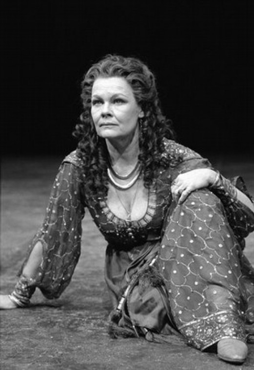 Production photograph of Judi Dench as Cleopatra in William Shakespeare's 'Antony and Cleopatra', London, 1987, photograph by Graham Brandon.