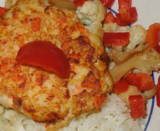 Fish Cake with Rice, Cauliflower and Red Bell Pepper