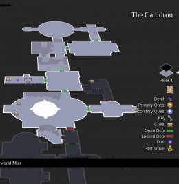 Darksiders 2 the Cauldron Dungeon Map - use the map to guide the hero through the Cauldron
