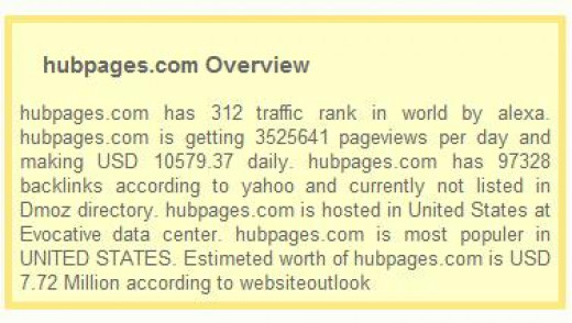** Hubpages Networth - copied from website outlook on 17 August 2012 **
