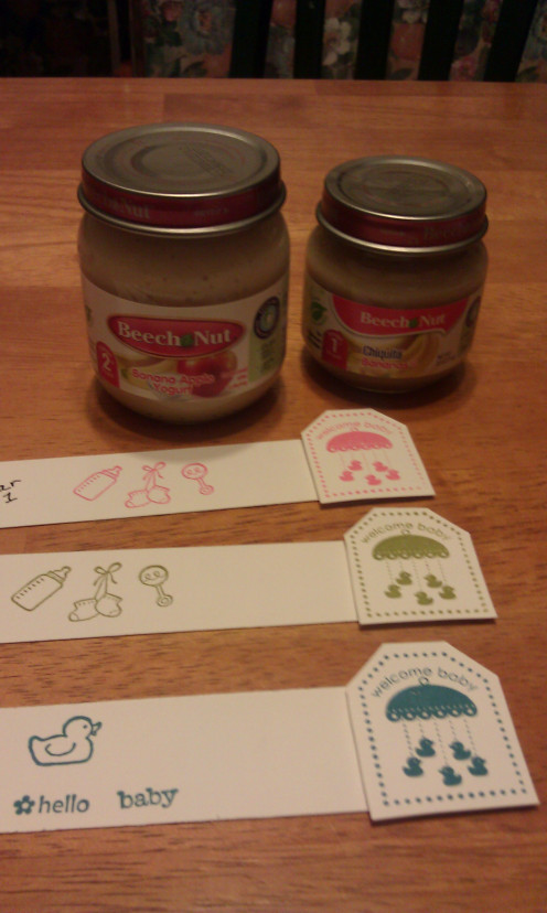 "I sell stamped labels ready for the ""Guess the Baby Food"" Game"