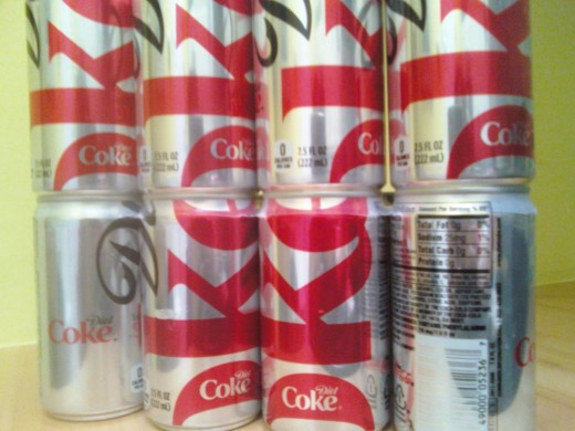 My 'baby Diet Cokes' 7.5 oz cans. I wish they sold one even smaller just so I could have a few sips each day.