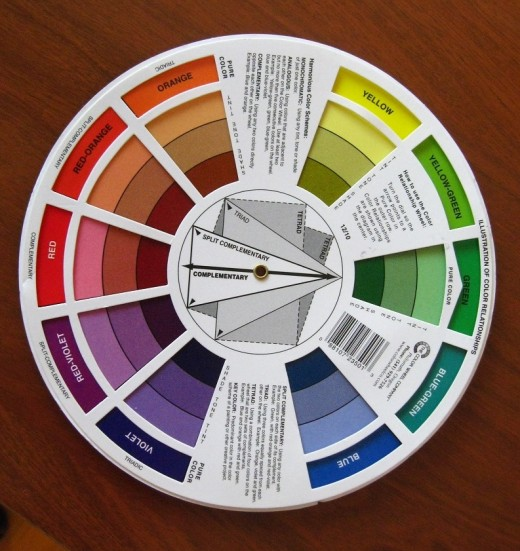 When in doubt about color schemes, consult your color wheel, they are usually displayed in the centre.
