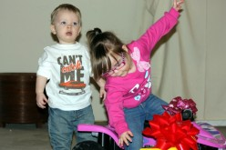 Two of our grandchildren, playing a little too hard.