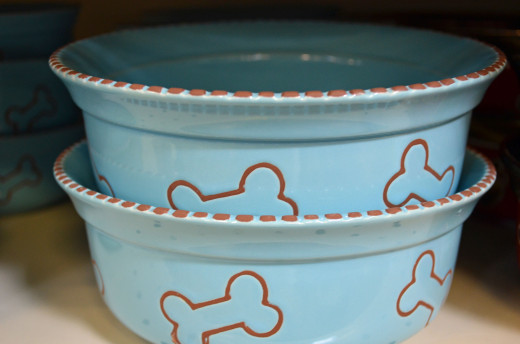 There are all kinds of dog bowls to choose from.