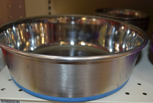 Heavy-bottomed stainless steel dog water bowls are unchewable and untippable.