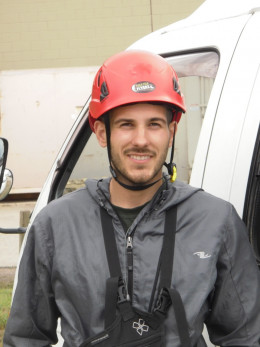 Daniel Luzic, a graduate of TRU Tourism program in 2009, now entrepreneur/owner of Tree Top Flyers zipline adventure in Chase, BC.