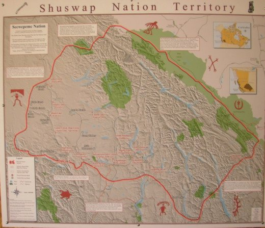 Map of Shuswap Nation Territory, around Lake Shuswap, BC.  The Shuswap First Nation claims traditional territory covering a huge part of the southern BC Interior.