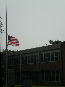 The Flag at half staff at the local high school
