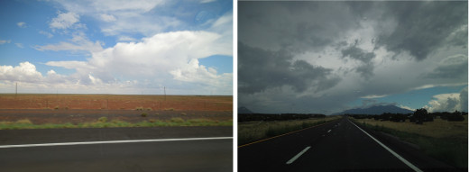 These two pictures were taken in a desert within 15 minutes apart.  It shows how fast the weather changes in a desert.