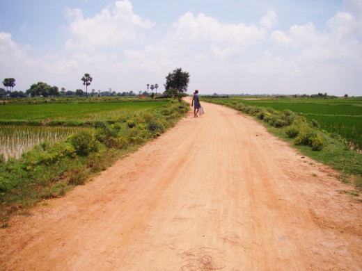 The road from the main road to the village