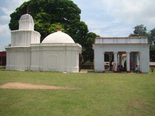 Full lateral view of the temple showing the three components