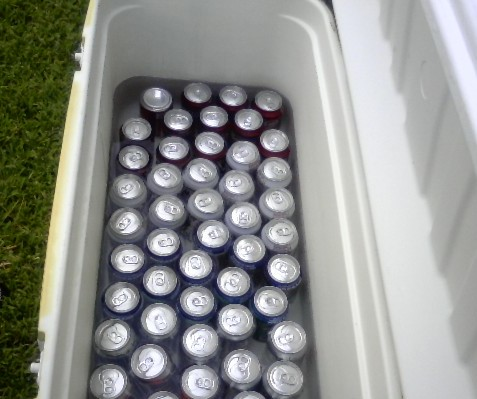 Ice down some cold drinks to sell for 50 cents, for a little additional profit.