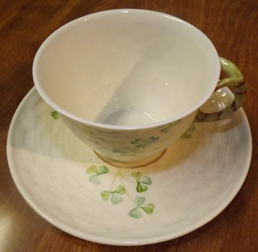 Vintage Belleek Shamrock Cup & Saucer Set