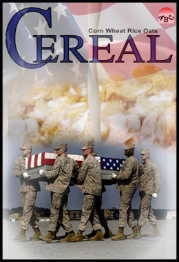 We put Olympic Champions on cereal boxes, but if this was the cover of cereal boxes, would we give up cereal, or give up war?