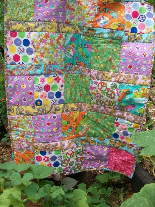 A garden is a wonderful place to photograph quilts.