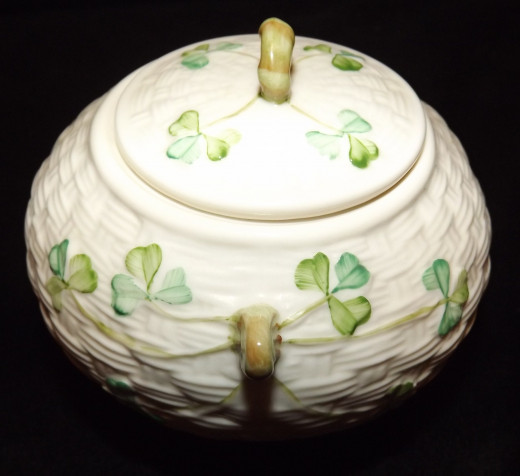 Belleek Shamrock Lidded Sugar Bowl