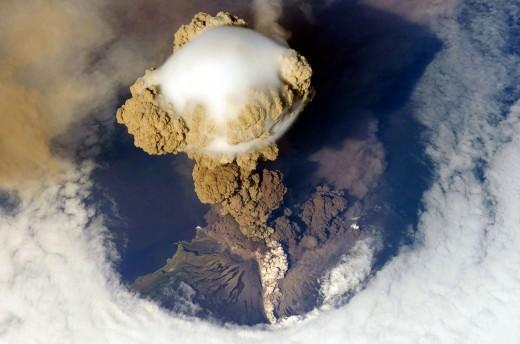 A volcanic eruption, a major natural source of carbon dioxide